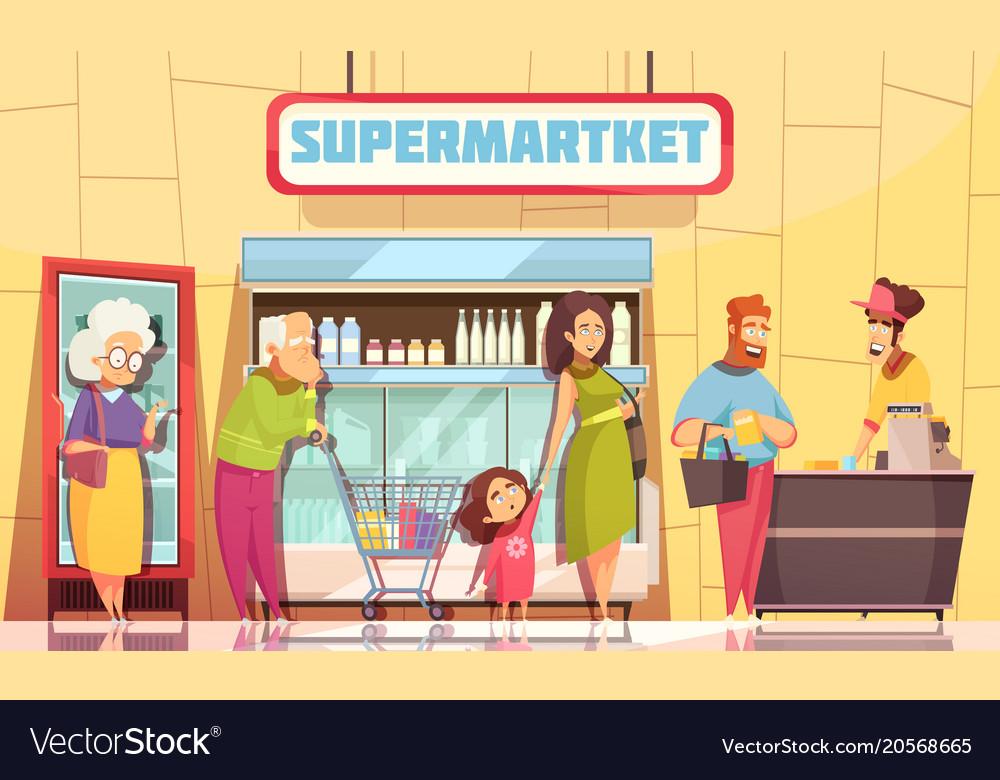 Queue people supermarket
