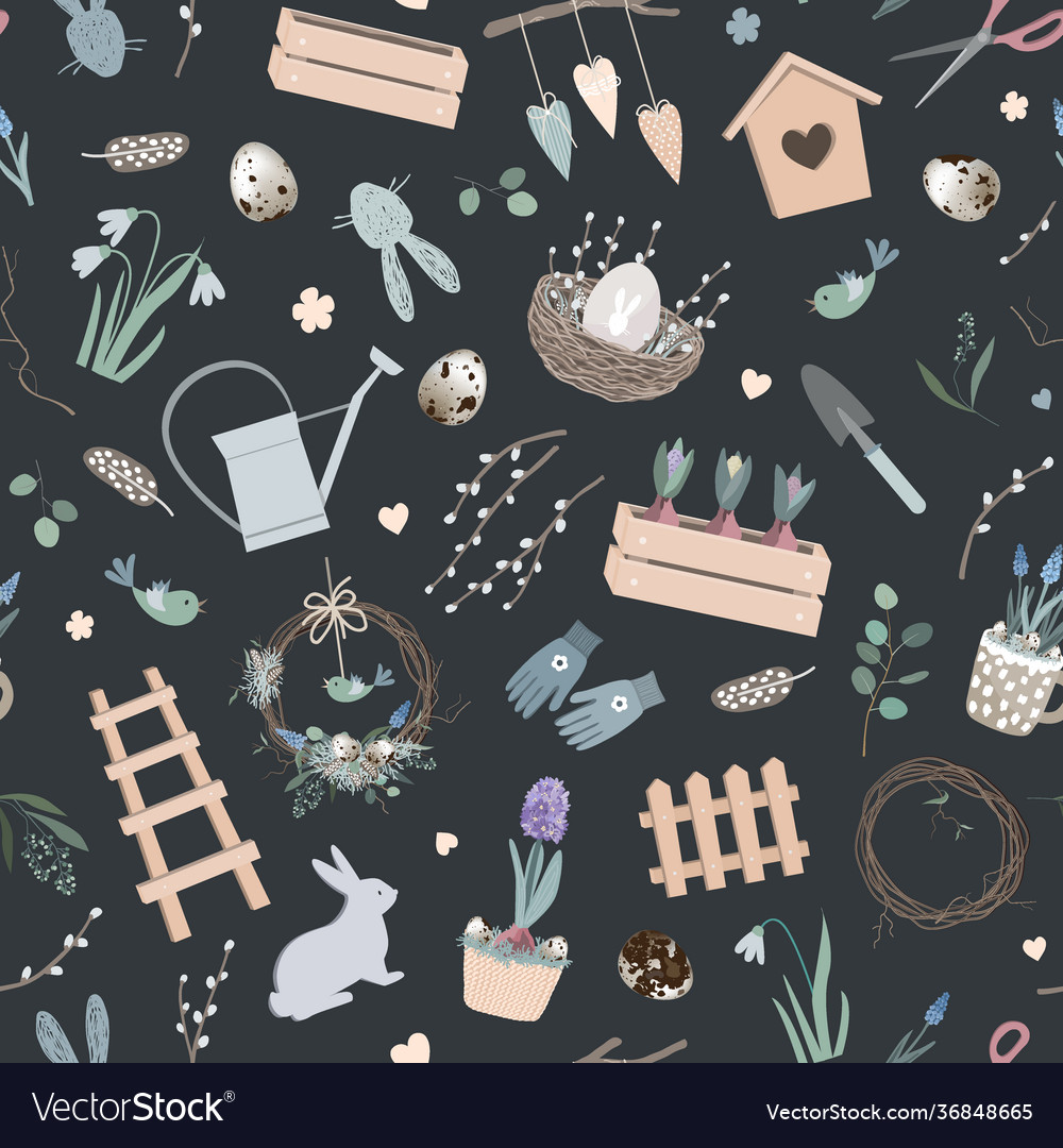 Scandinavian easter seamless pattern with spring