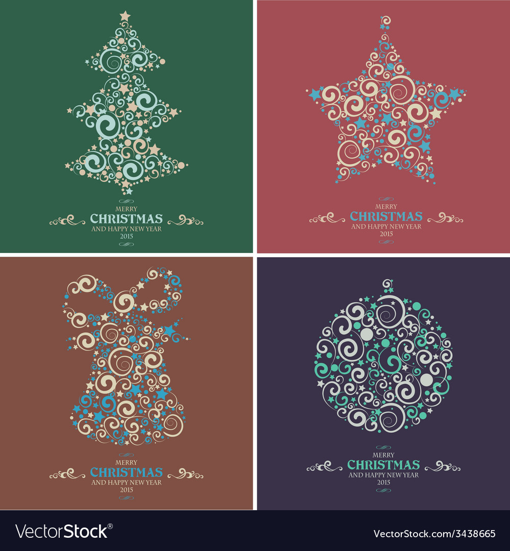 Set of decorative Christmas elements vector image
