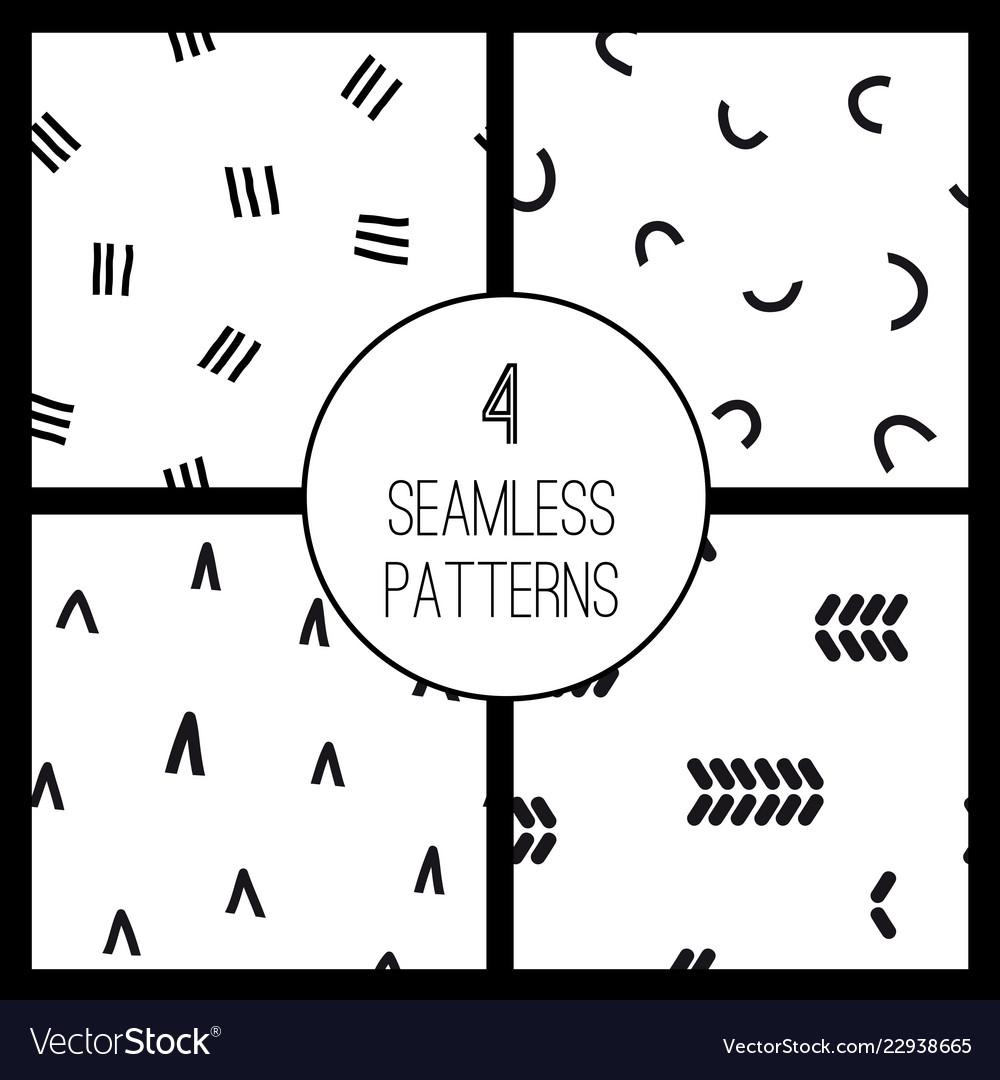 Set with 4 simple minimalistic seamless pattern