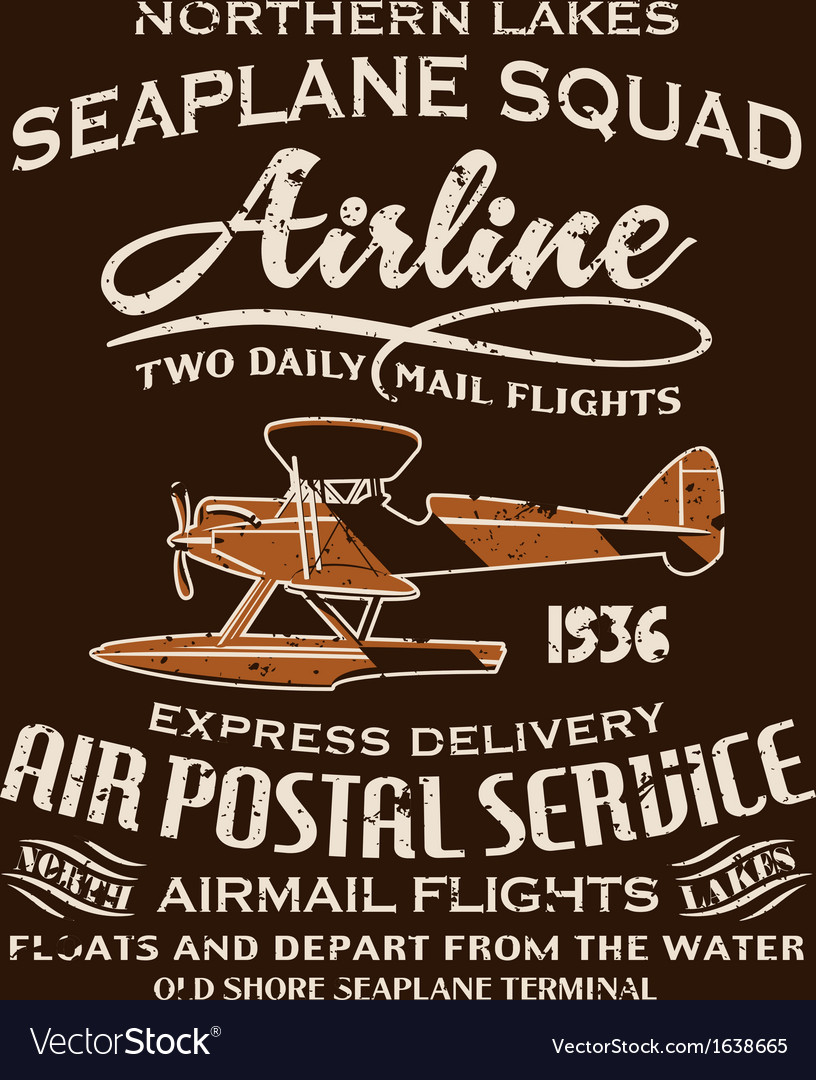 Vintage seaplane airmail service vector image
