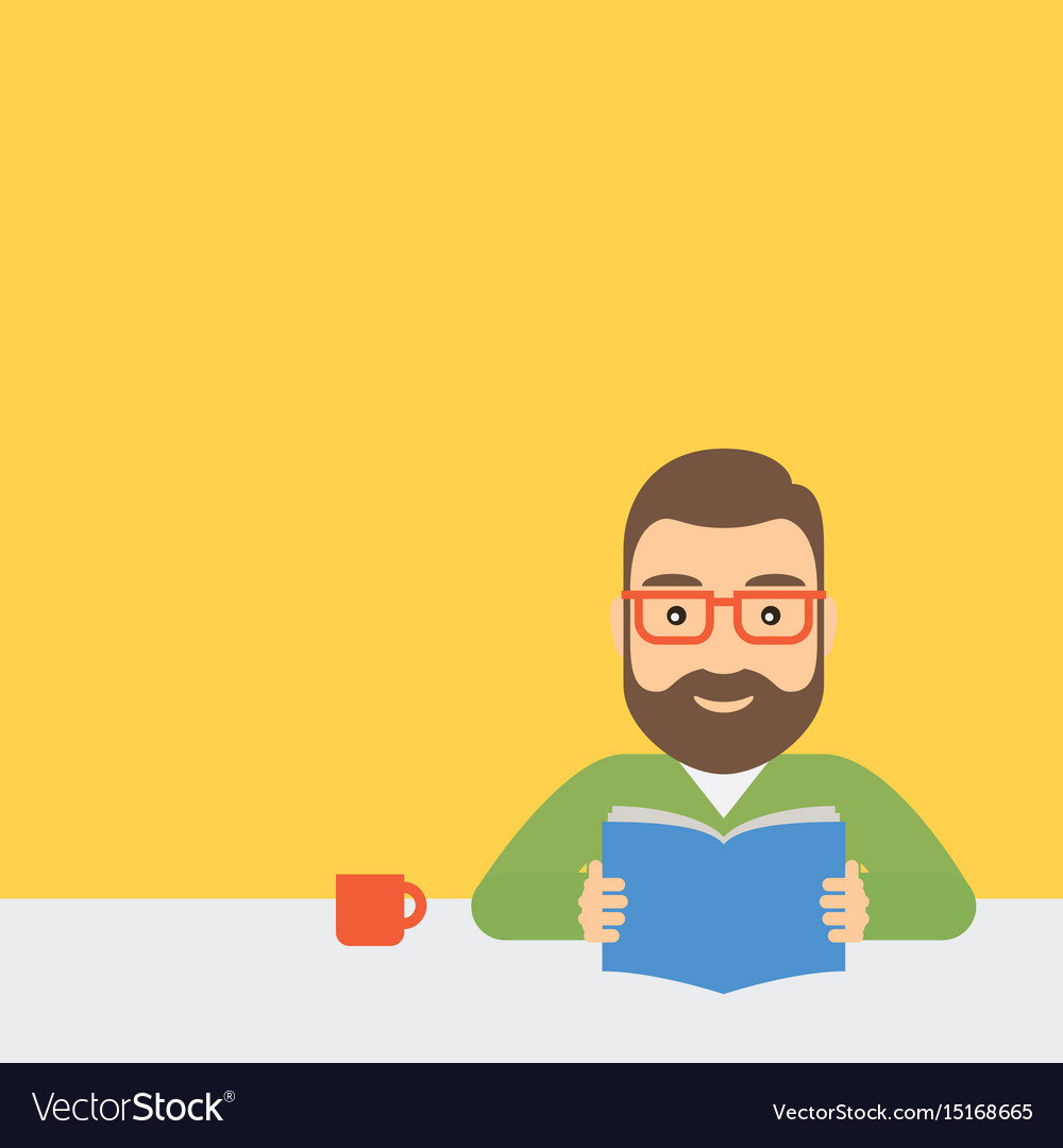 Young man is reading a book sitting at a table vector image