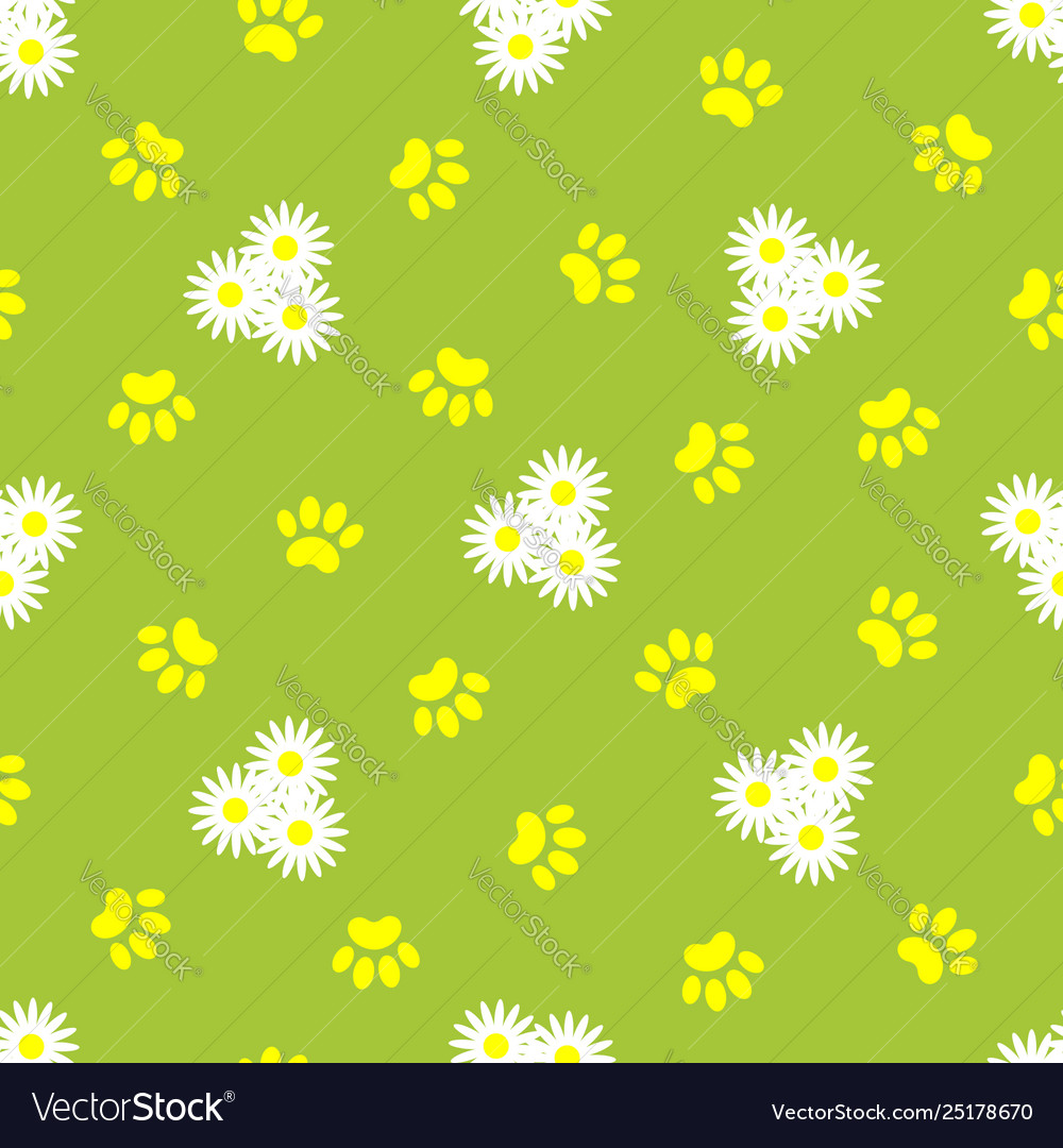 Animal paw prints and daisies seamless pattern