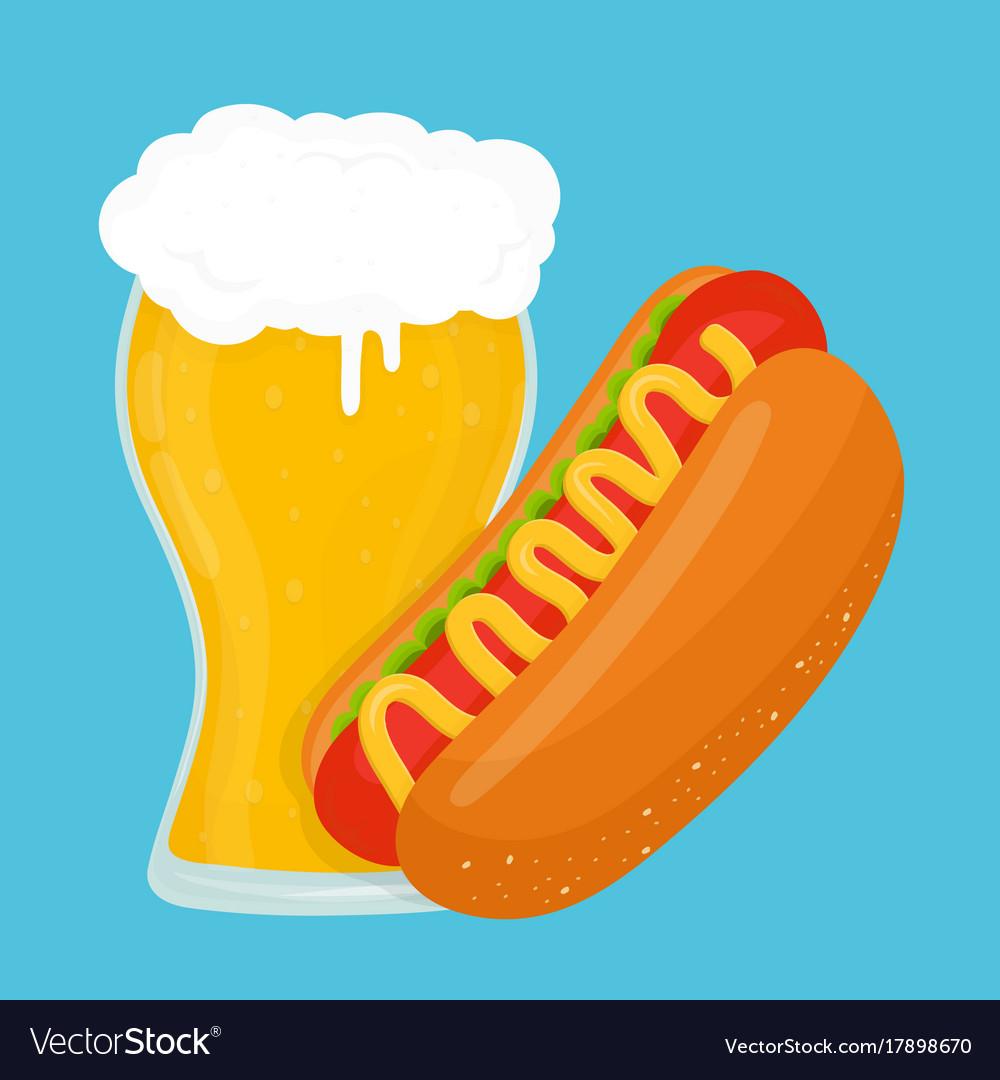 Beer and hot dog flat cartoon