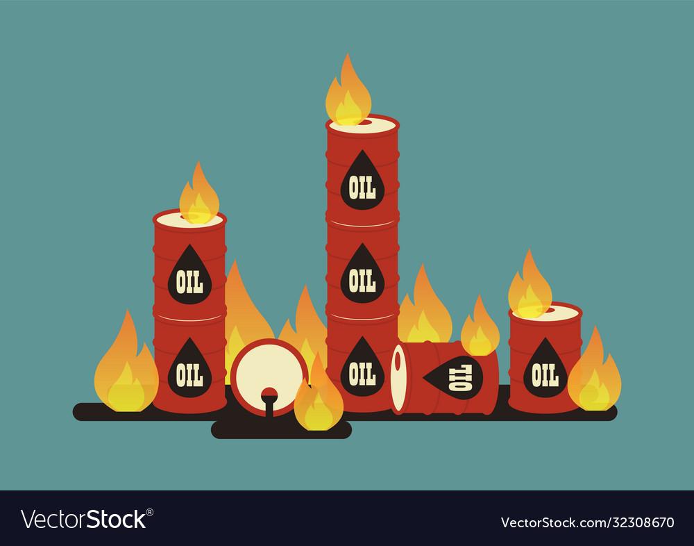Burning oil barrel