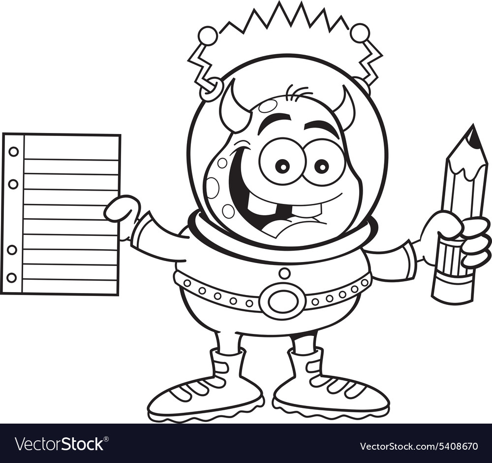 Cartoon alien holding a paper and pencil vector image