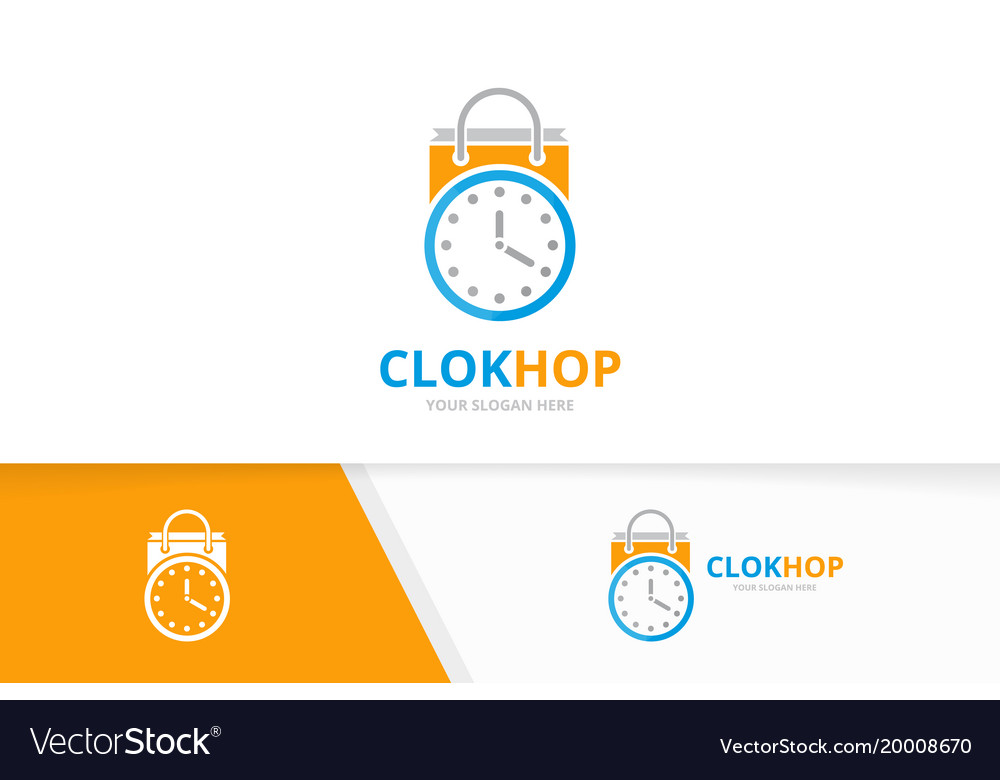 Clock and shop logo combination time and
