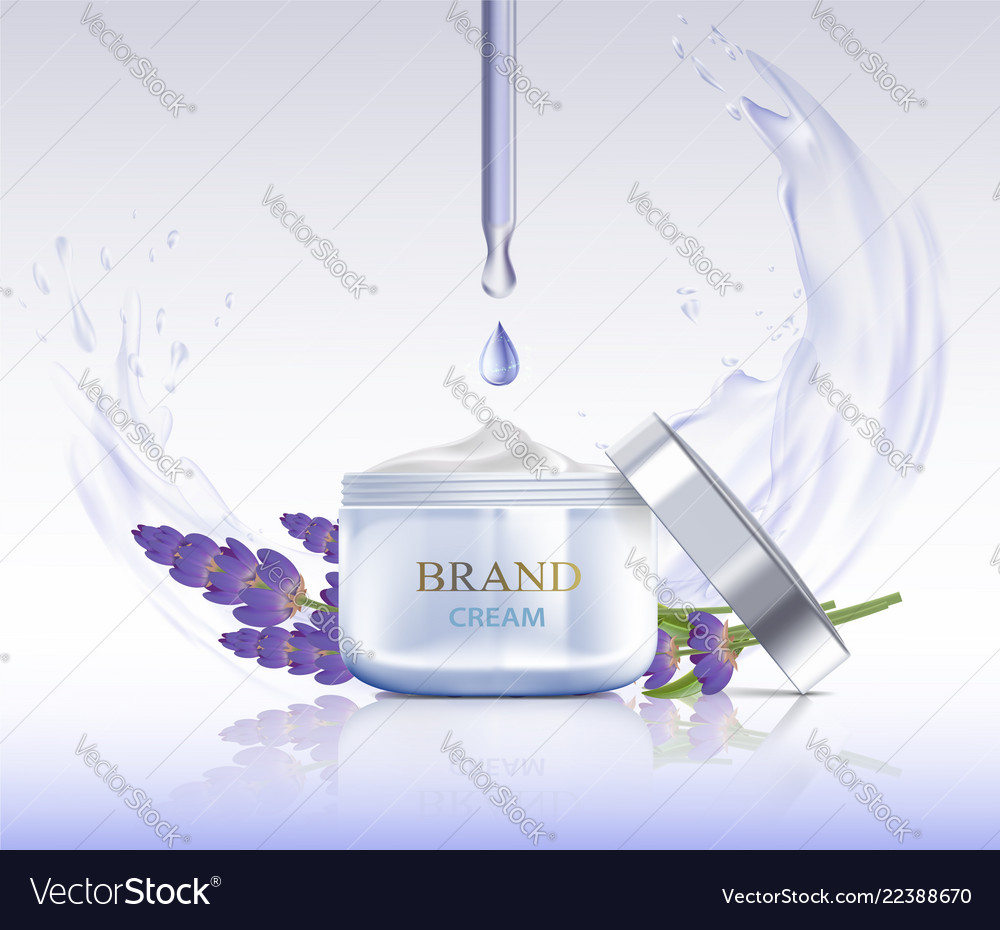 Cream with lavender flowers