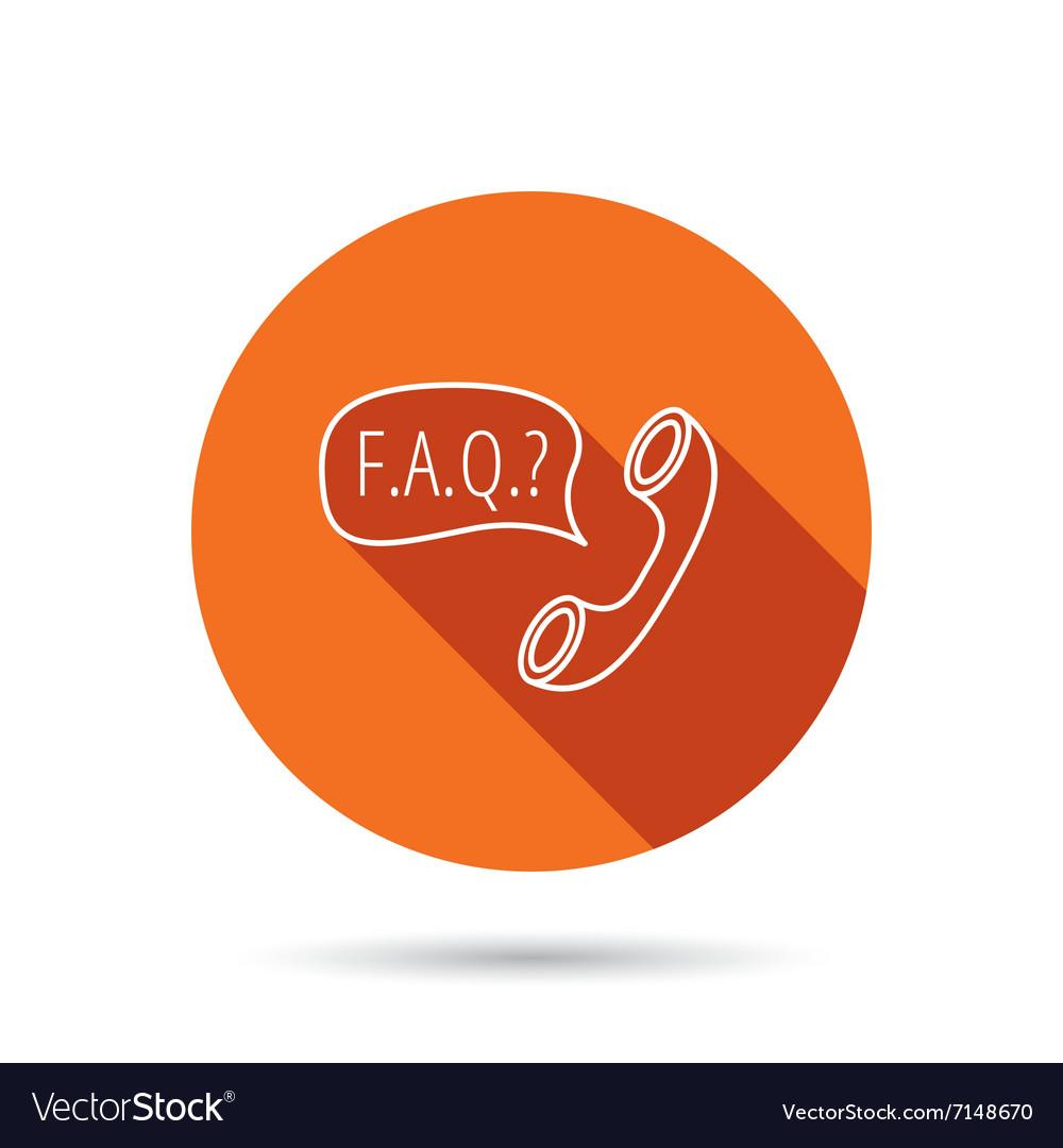 FAQ service icon Support speech bubble sign vector image on VectorStock