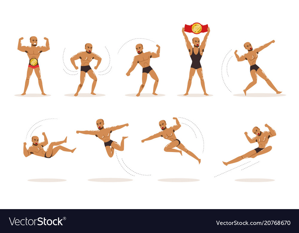 Freestyle wrestling fighter in black underwear vector image