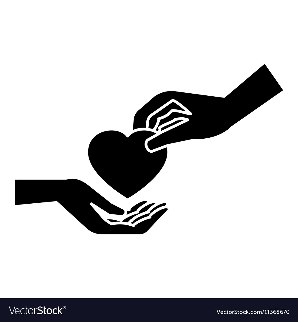 Hand gives heart icon simple style