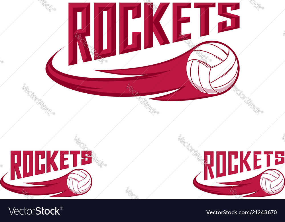 Rocket volleyball logo for team and cup
