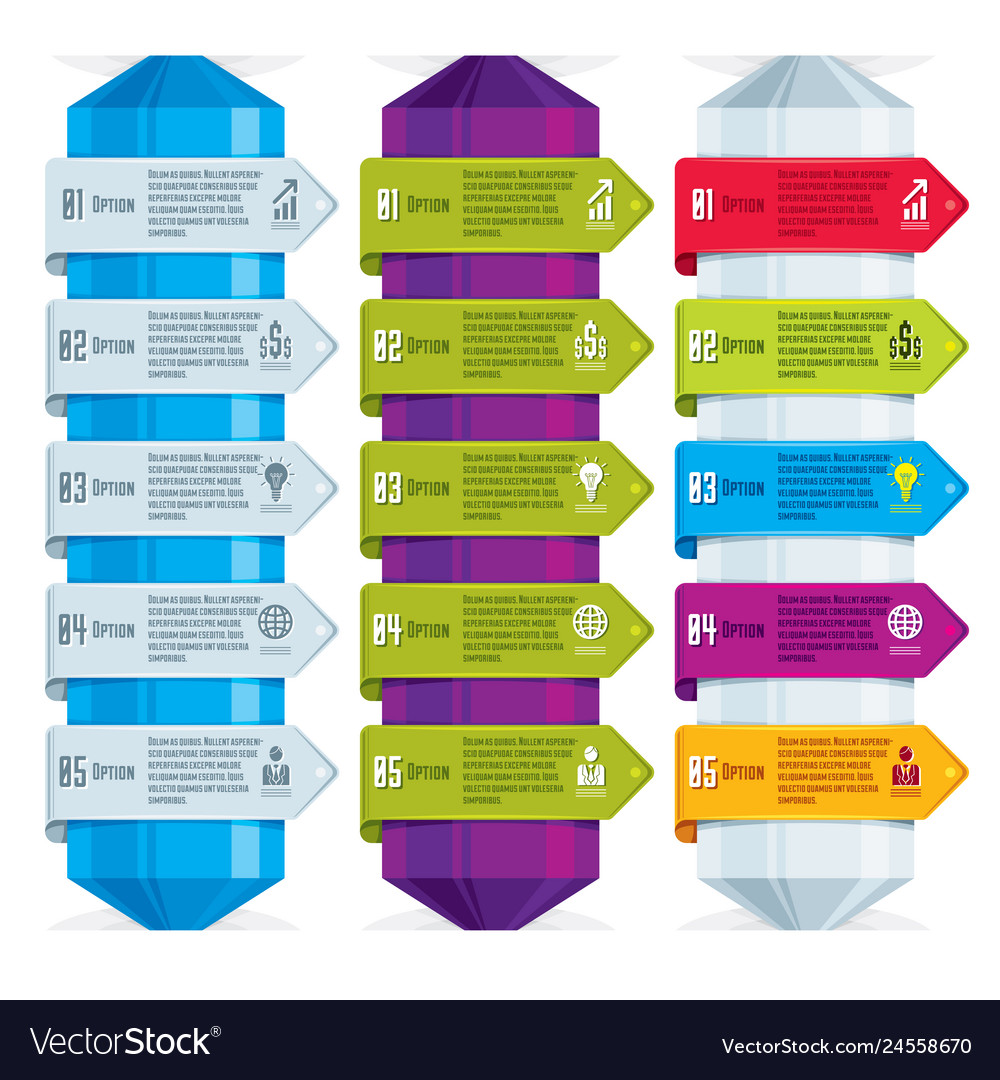 Set of different color infographic compositions
