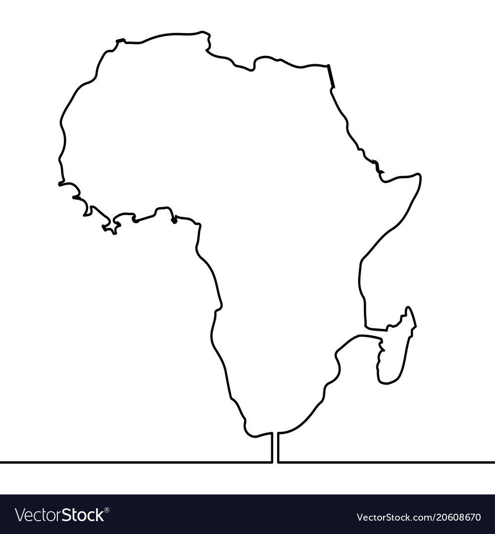 Map Of Africa Art.Single Continuous Line Art Map Of Africa Vector Image
