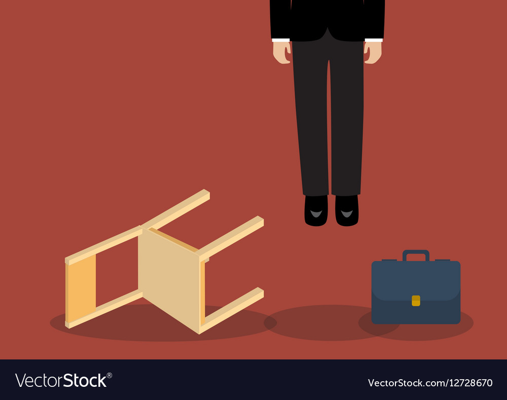 Situation of hanged businessman vector image