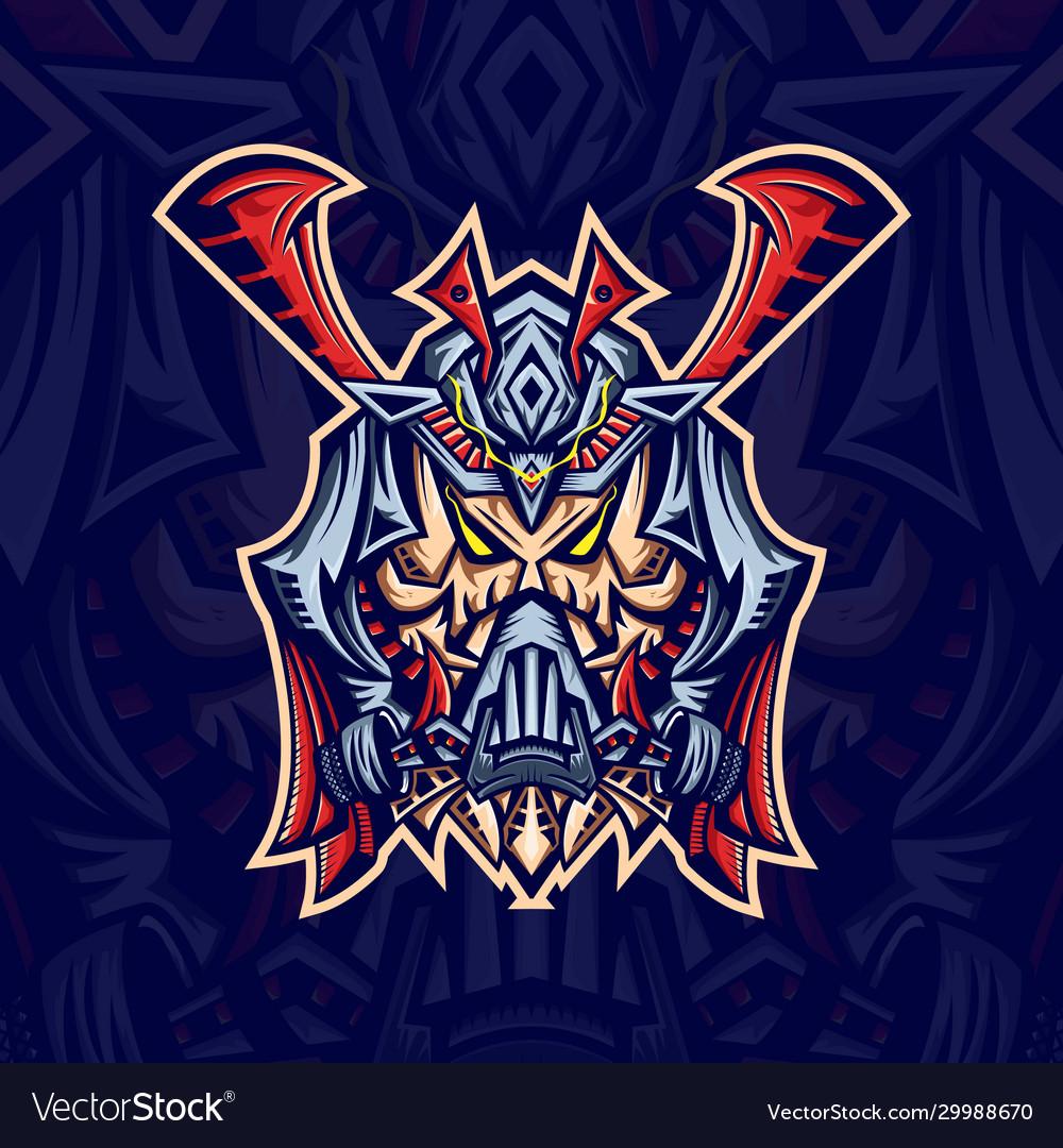 Skull samurai mask esport logo template