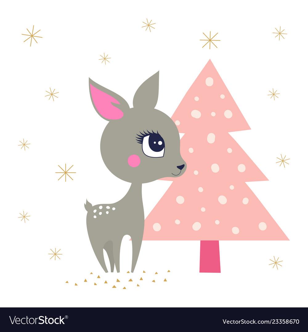 Winter background with reindeer