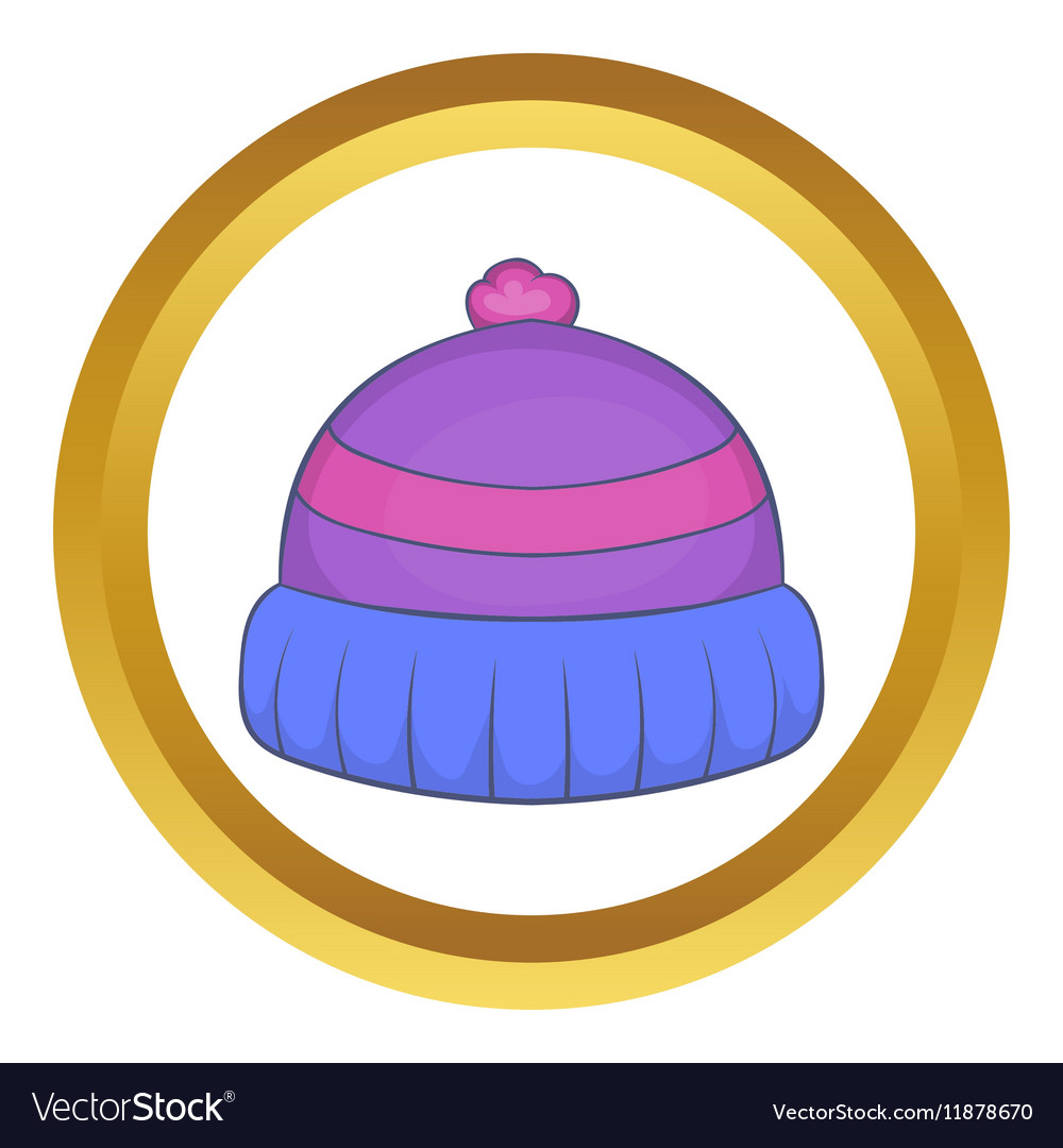 Winter knitted hat with pompon icon vector image