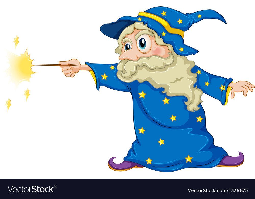 A Wizard Holding Magic Wand Vector Image