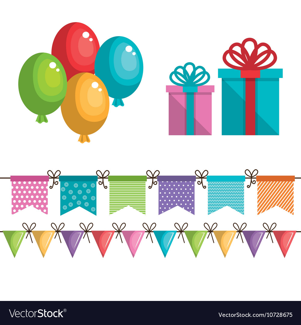 Birthday icons decoration with white background