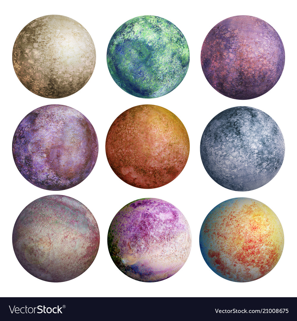 Colorful set watercolor planets isolated