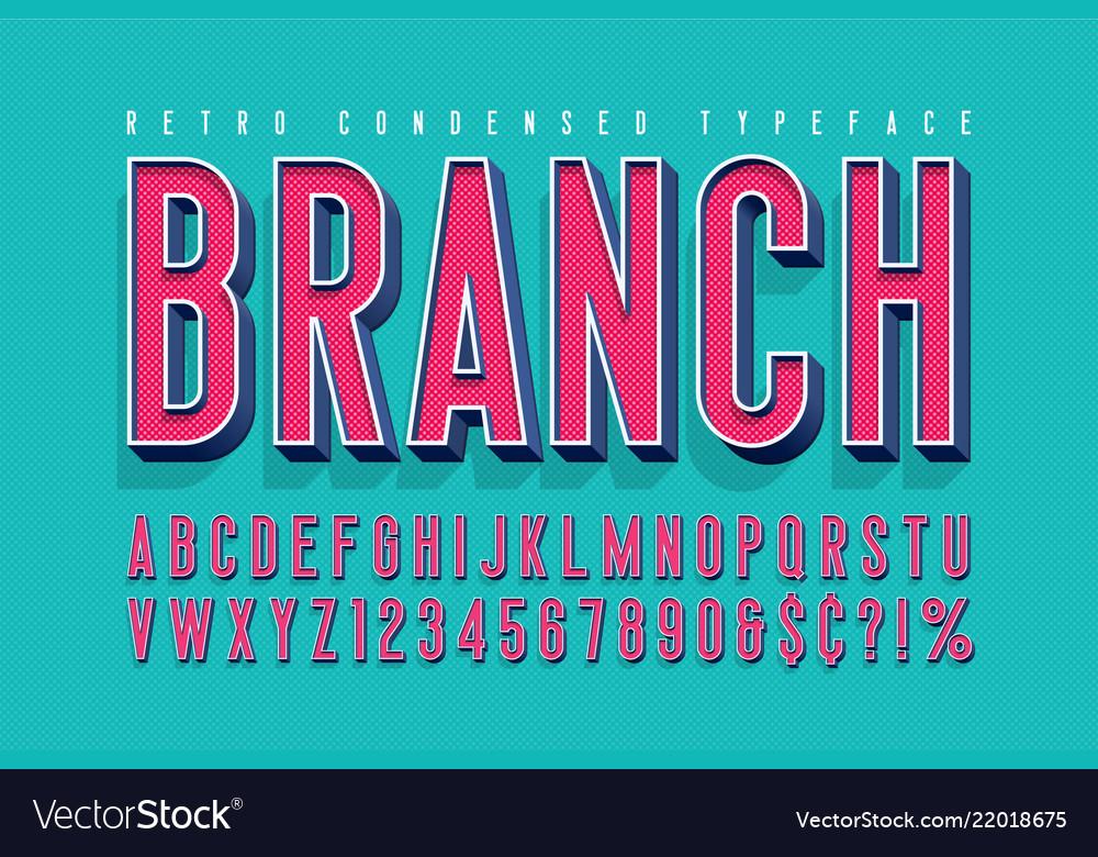 Condensed 3d display font design alphabet