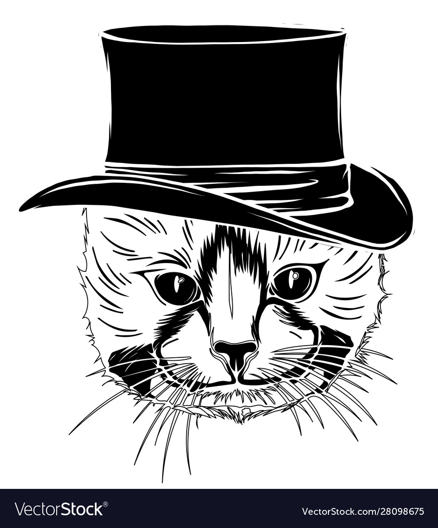 Funny british cat hipster in gray hat