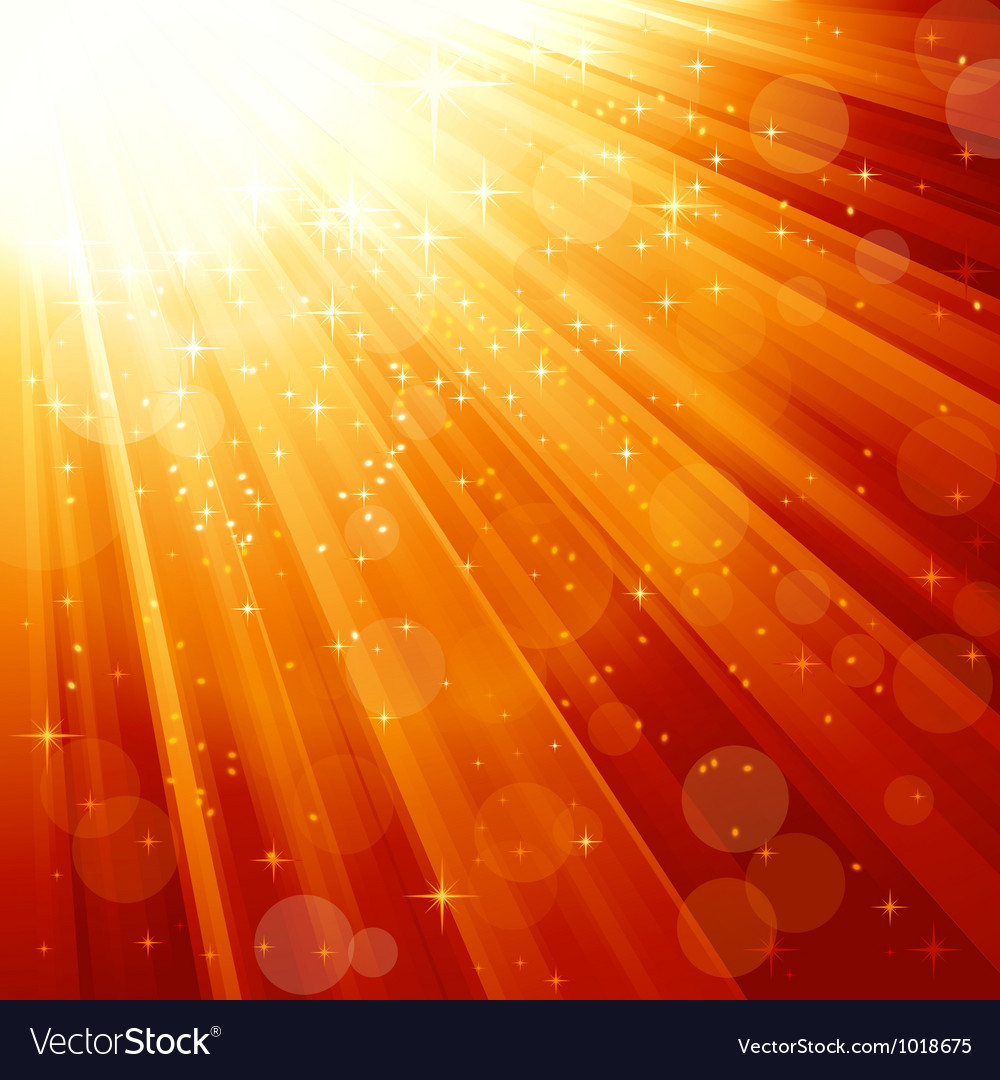 Magic stars descending on beams of light vector image