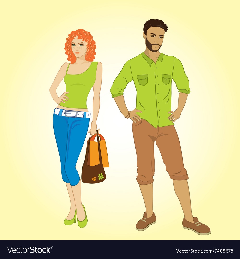 Man and shopping girl