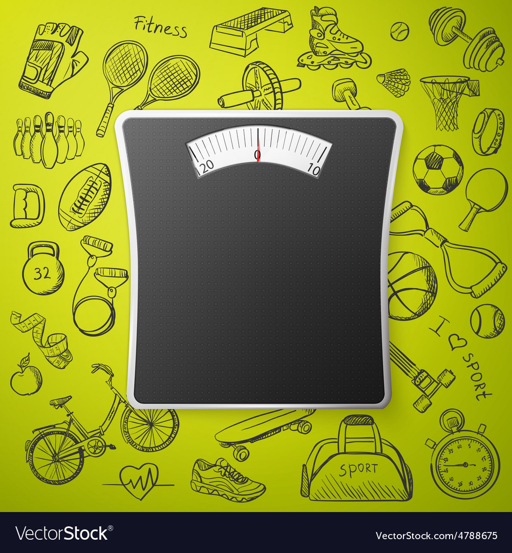 Scales and hand draw sport icon