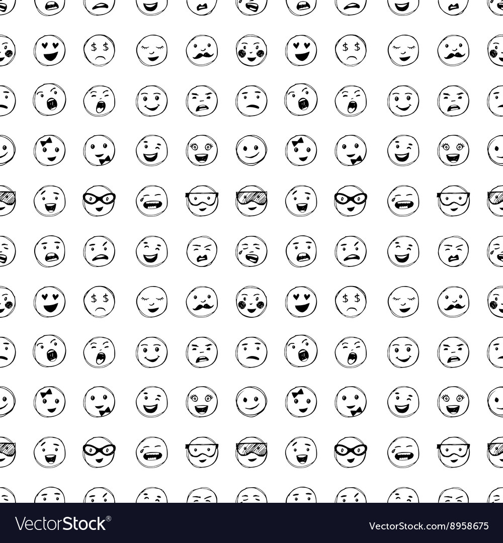 Seamless pattern of hand drawn lines smiles