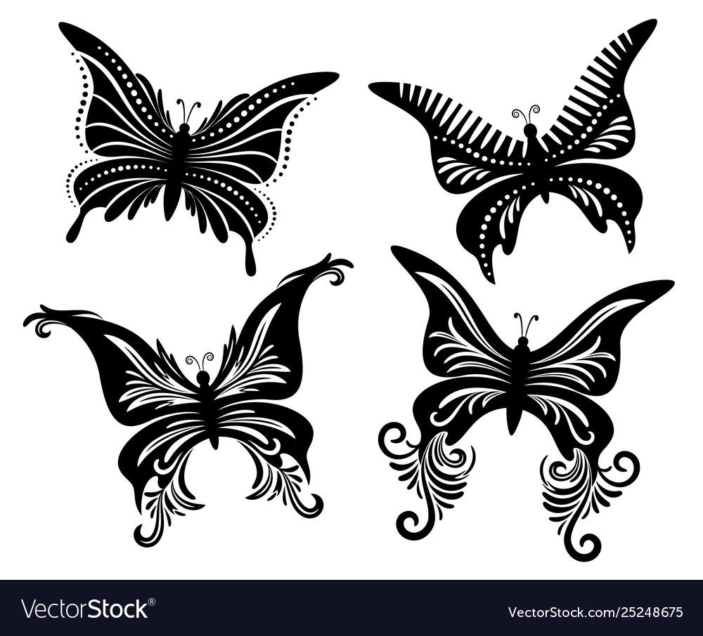 Set butterflies black pictograms
