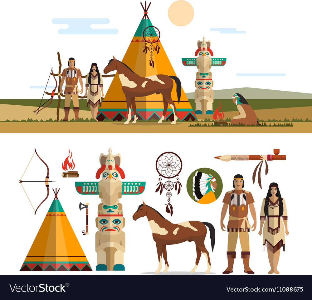 Set of American indian tribal objects