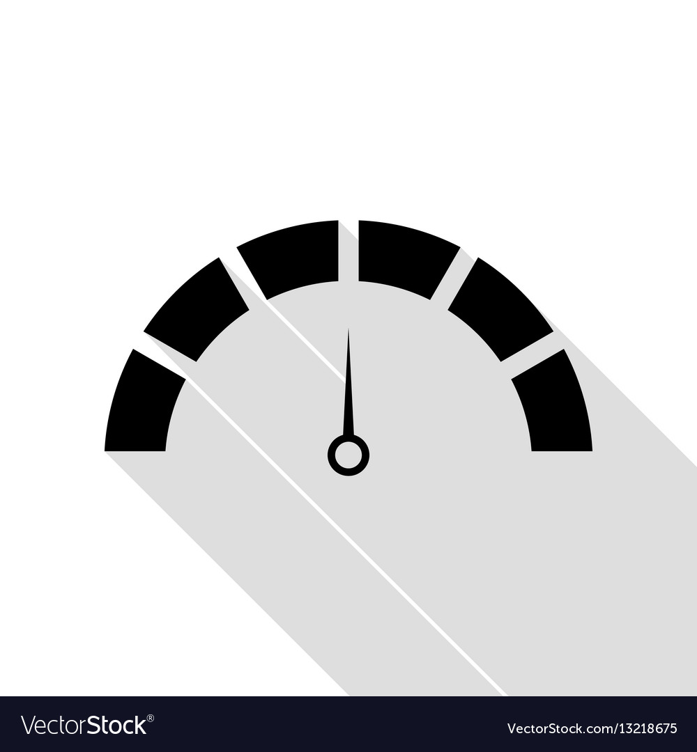Speedometer sign black icon with