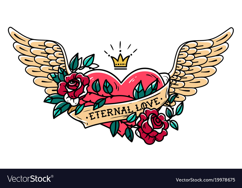 tattoo heart with wings ribbon roses and crown vector image rh vectorstock com heart tattoo with wings and crown chest tattoo heart with wings