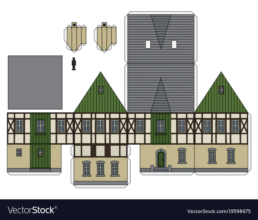 The Paper Model Of A Vintage House Vector Image