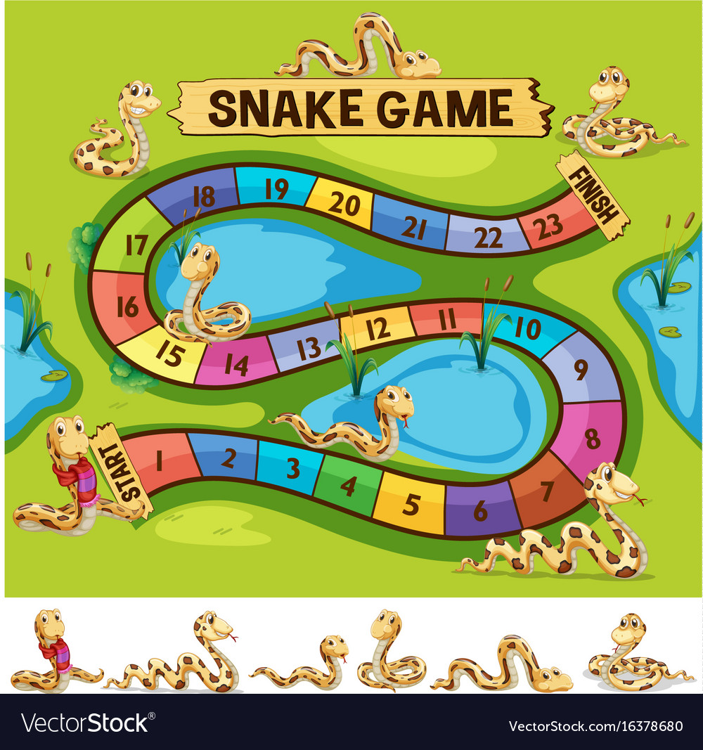 boardgame template with snakes crawling royalty free vector