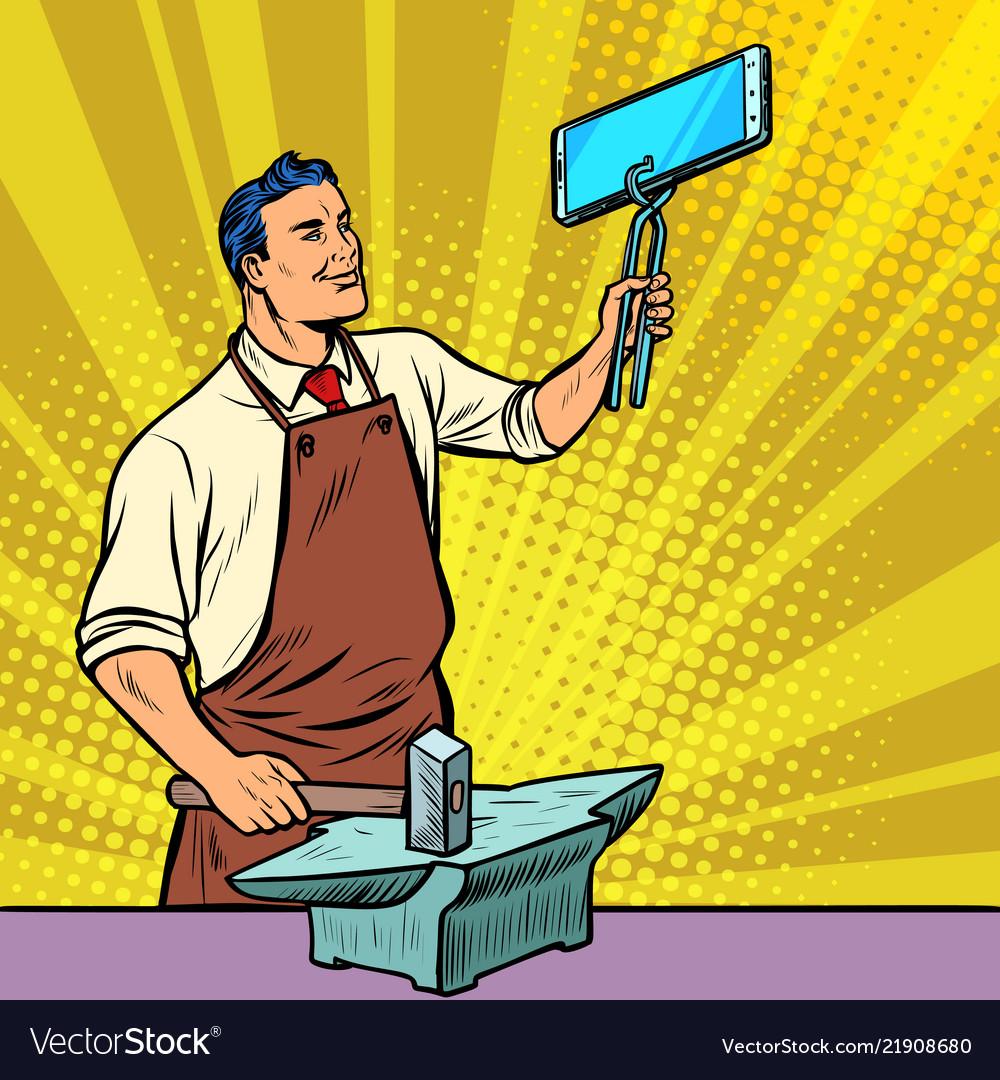 Businessman blacksmith forges smartphone on anvil