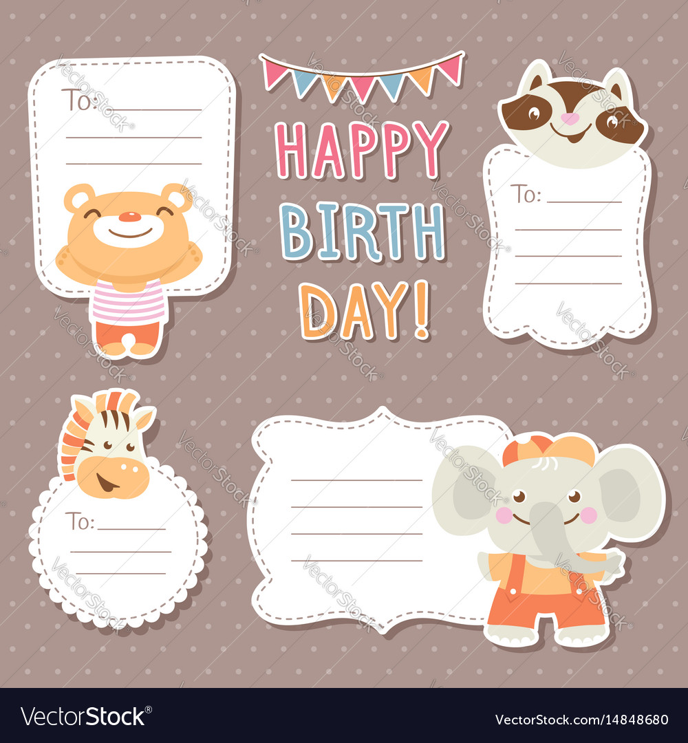Cartoon animals greeting cards tags and stickers