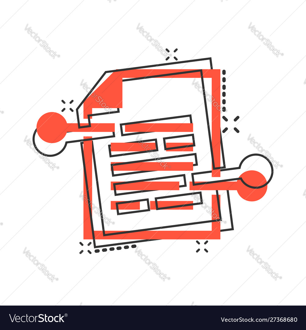 Cartoon document paper icon in comic style terms