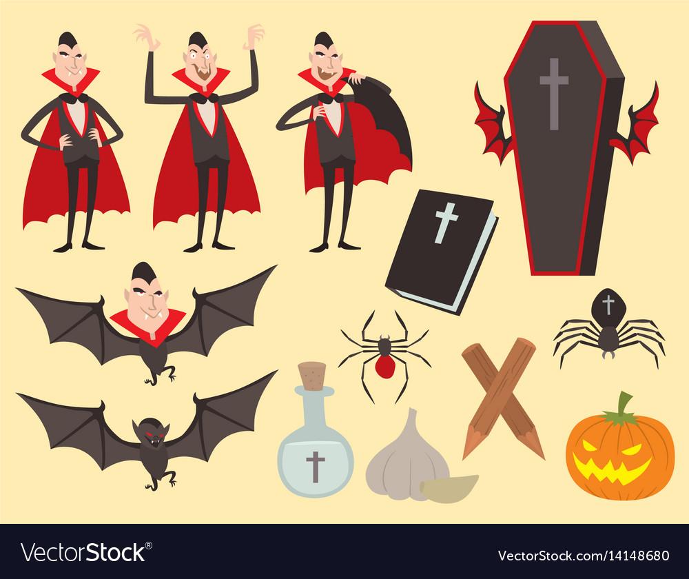 Cartoon dracula coffin symbols vampire