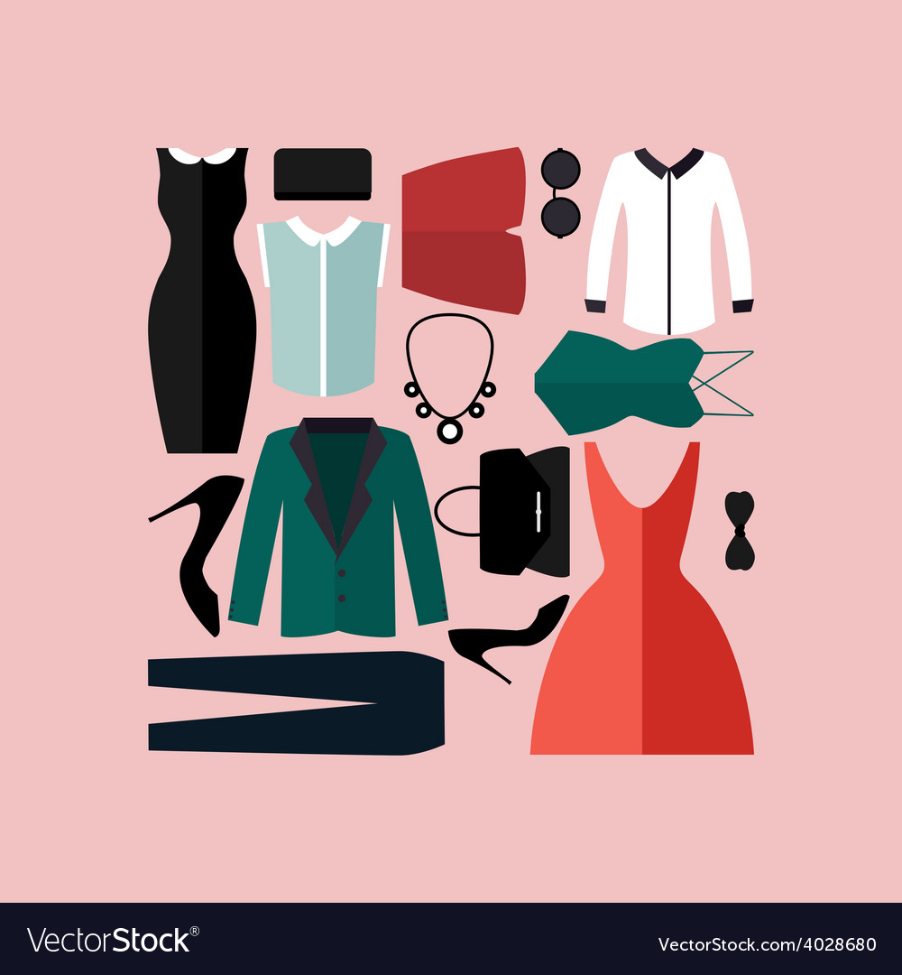 Clothing Icons Set Shopping Elements Royalty Free Vector