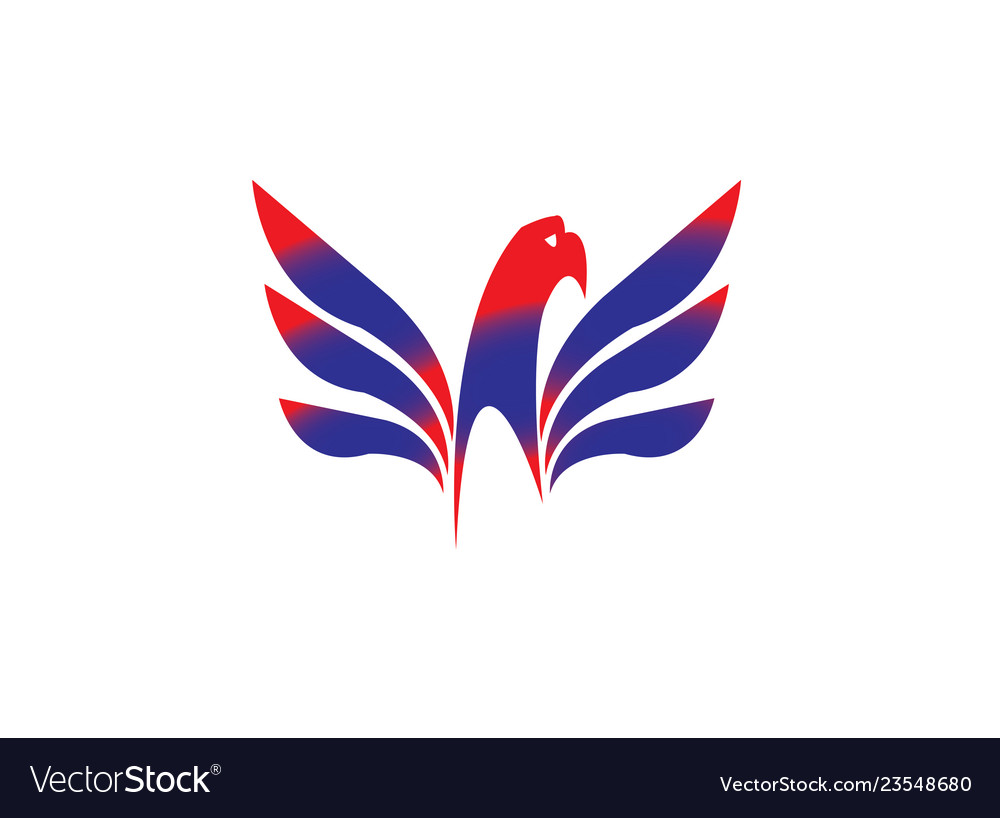 Eagle head with wings slogan logodesign