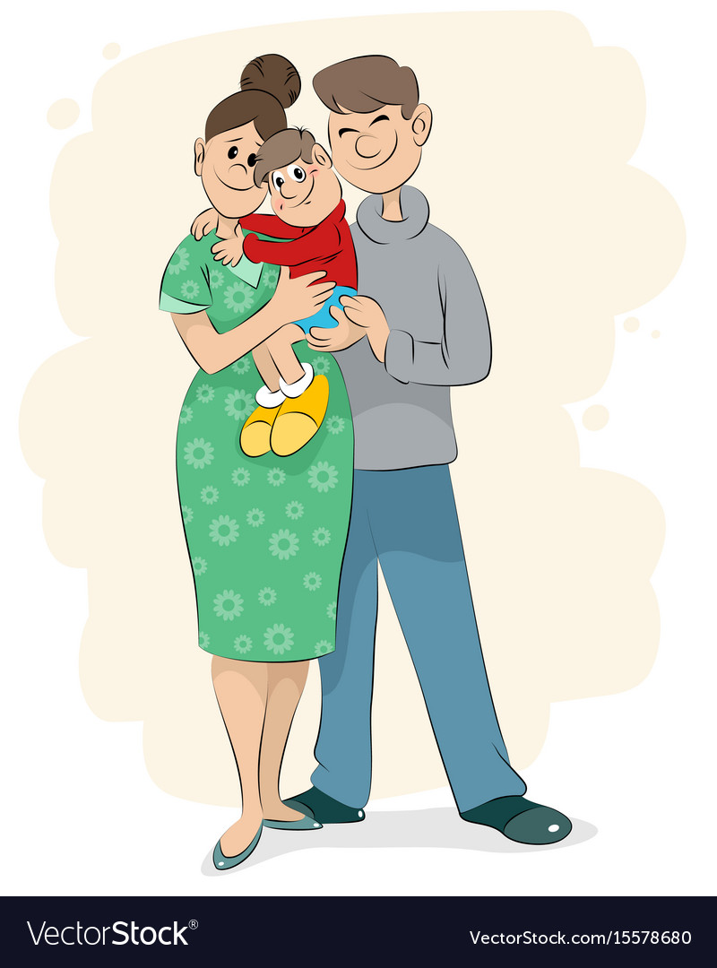 Family with baby vector image