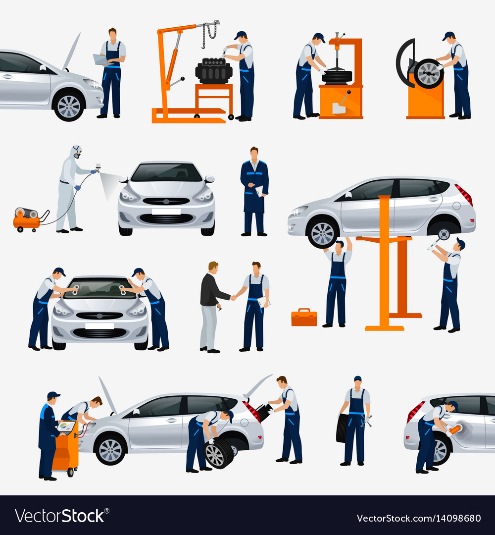 Flat icons car repair service different workers