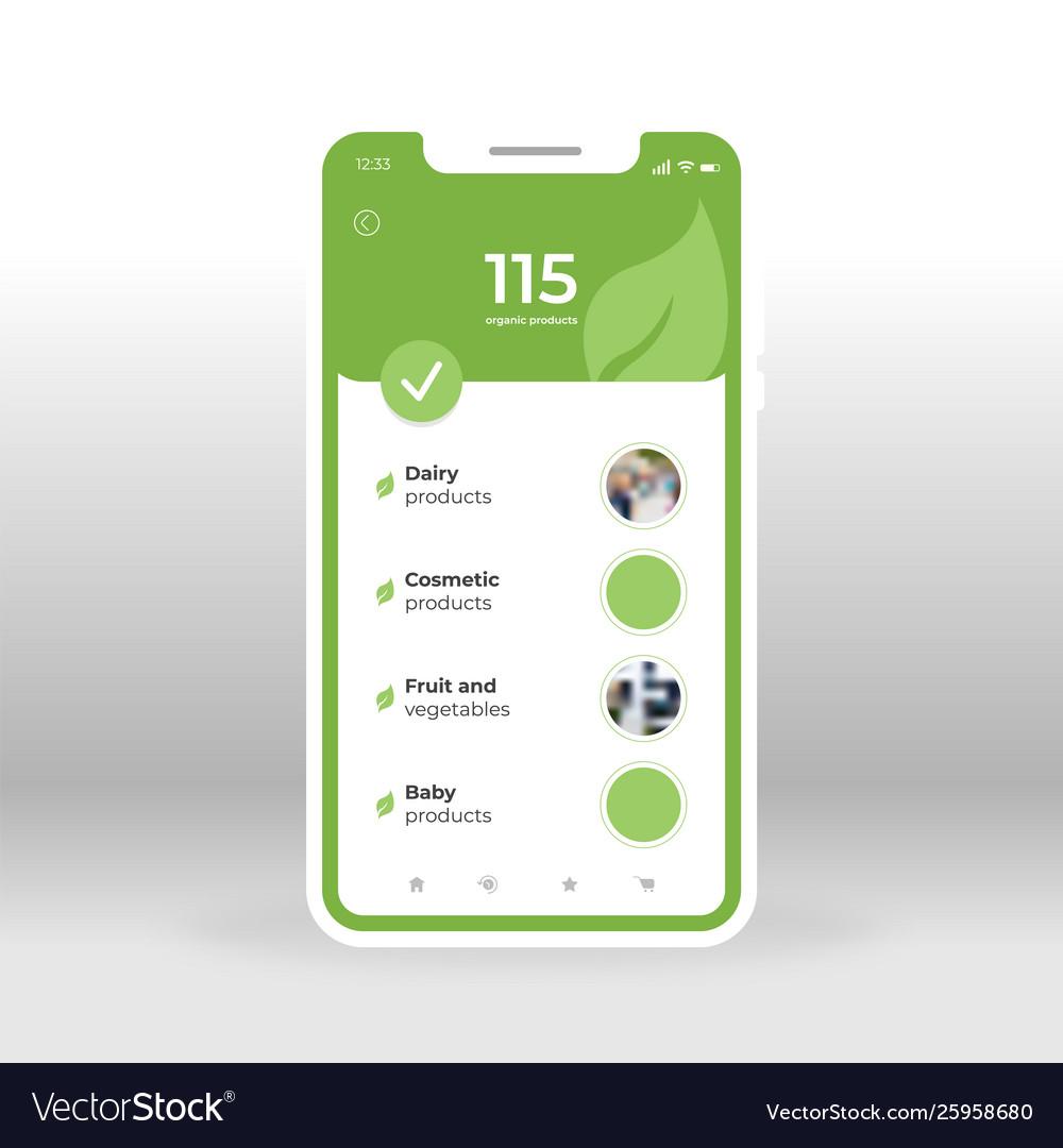 Green products online shopping ui ux gui screen