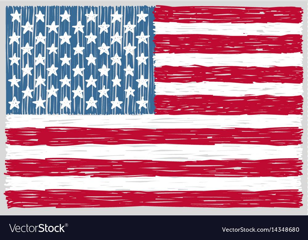Hand drawn united states america flag