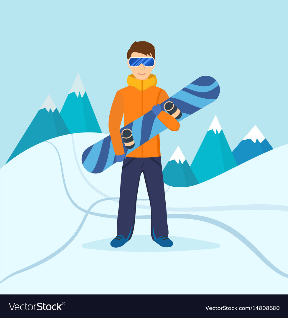 Man standing on mountain holding snowboard