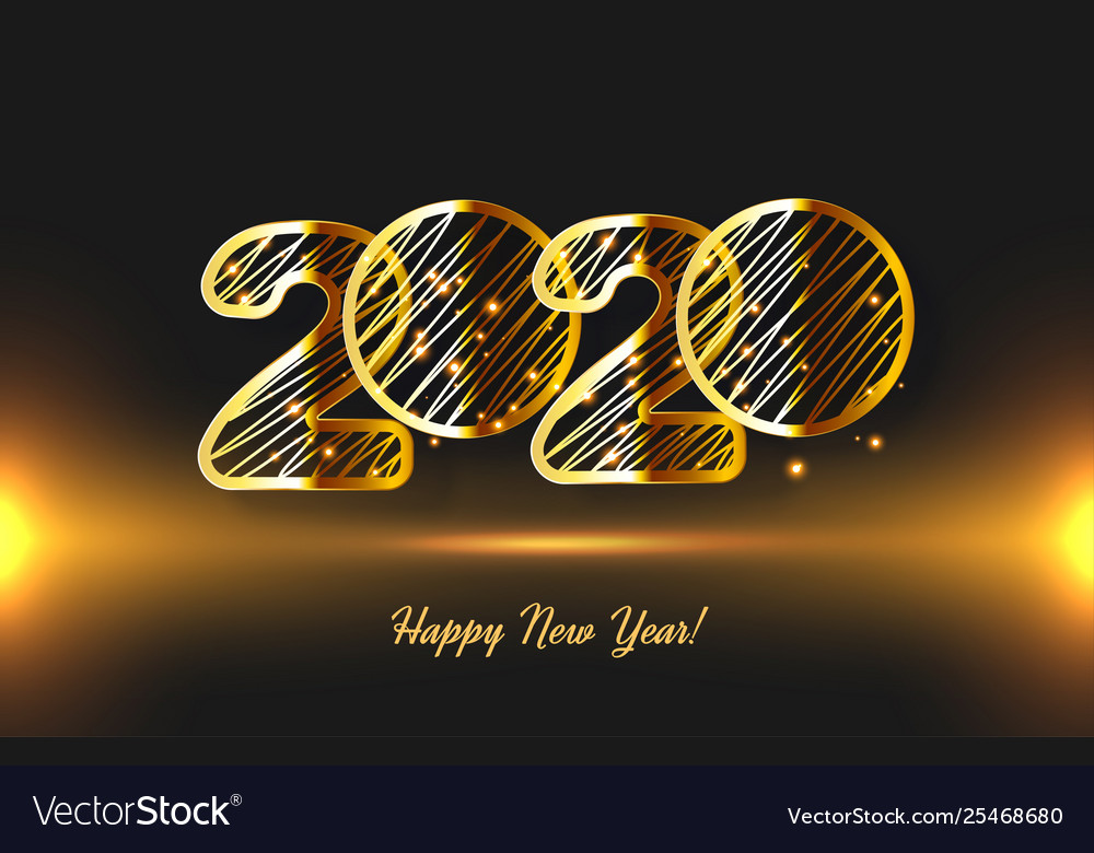 Realistic glow golden 3d 2020 new year card