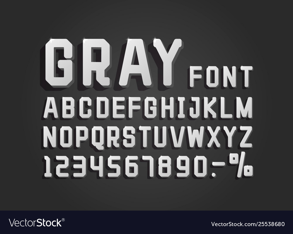 Retro font gray vintage light sign set